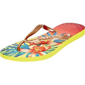 havaianas Slim Tropical Flips women light yellow